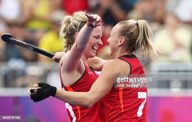 Hollie PearneWebb of England celebrates with team mates after scoring her teams first goal during the Women's Bronze Medal match between England and...