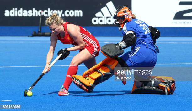 Hollie Webb of England and Julia Remmerswaal of Netherlands during the Investec International match between England Women and Netherlands Women at...