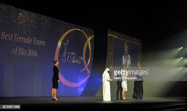Hollie Webb of Great Britain accepts the award for the 'Best Female Team of Rio 2016 Team GB Hockey' during The ANOC Awards 2016 at the The Qatar...