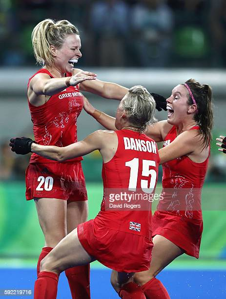Hollie Webb of Great Britain celebrates after scoring the winning penalty against the Netherlands during the Women's Gold Medal Match on Day 14 of...