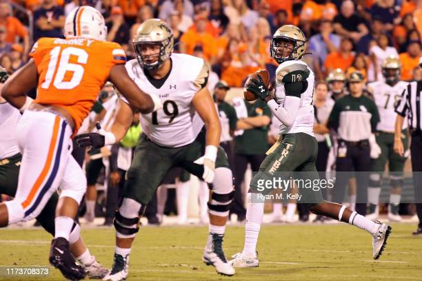 Hollis Mathis of the William Mary Tribe looks to pass in the first half during a game against the Virginia Cavaliers at Scott Stadium on September 6...
