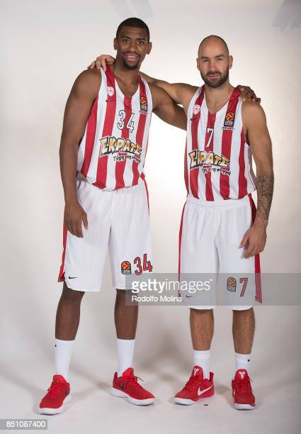 Hollis Thompson #34 and Vassilis Spanoulis #7 of poses during Olympiacos Piraeus 2016/2017 Turkish Airlines EuroLeague Media Day at Peace and...