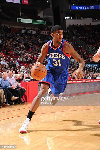 Hollis Thompson of the Philadelphia 76ers drives against the Houston Rockets on March 27 2014 at the Toyota Center in Houston Texas NOTE TO USER User...