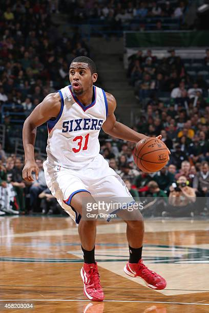Hollis Thompson of the Philadelphia 76ers drives to the basket against Milwaukee Bucks during the game on October 31 2014 at the BMO Harris Bradley...