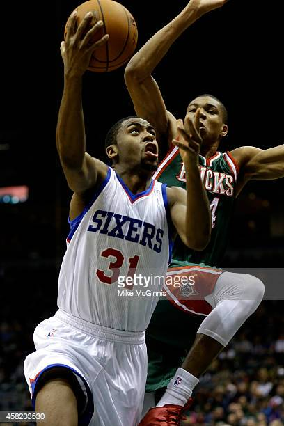 Hollis Thompson of the Philadelphia 76ers drives to the hoop for two points during the first half against the Milwaukee Bucks at BMO Harris Bradley...
