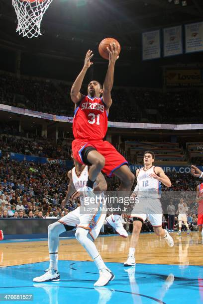 Hollis Thompson of the Philadelphia 76ers goes up for the layup against the Oklahoma City Thunder during an NBA game on March 4 2014 at the...