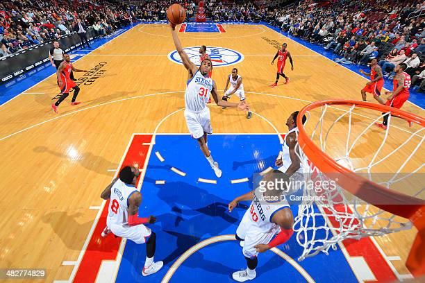 Hollis Thompson of the Philadelphia 76ers grabs a rebound against the Atlanta Hawks at the Wells Fargo Center on January 31 2014 in Philadelphia...