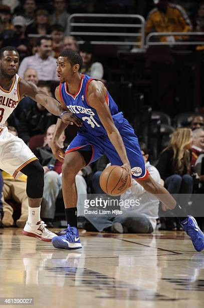 Hollis Thompson of the Philadelphia 76ers handles the ball against the Cleveland Cavaliers at The Quicken Loans Arena on January 7 2014 in Cleveland...