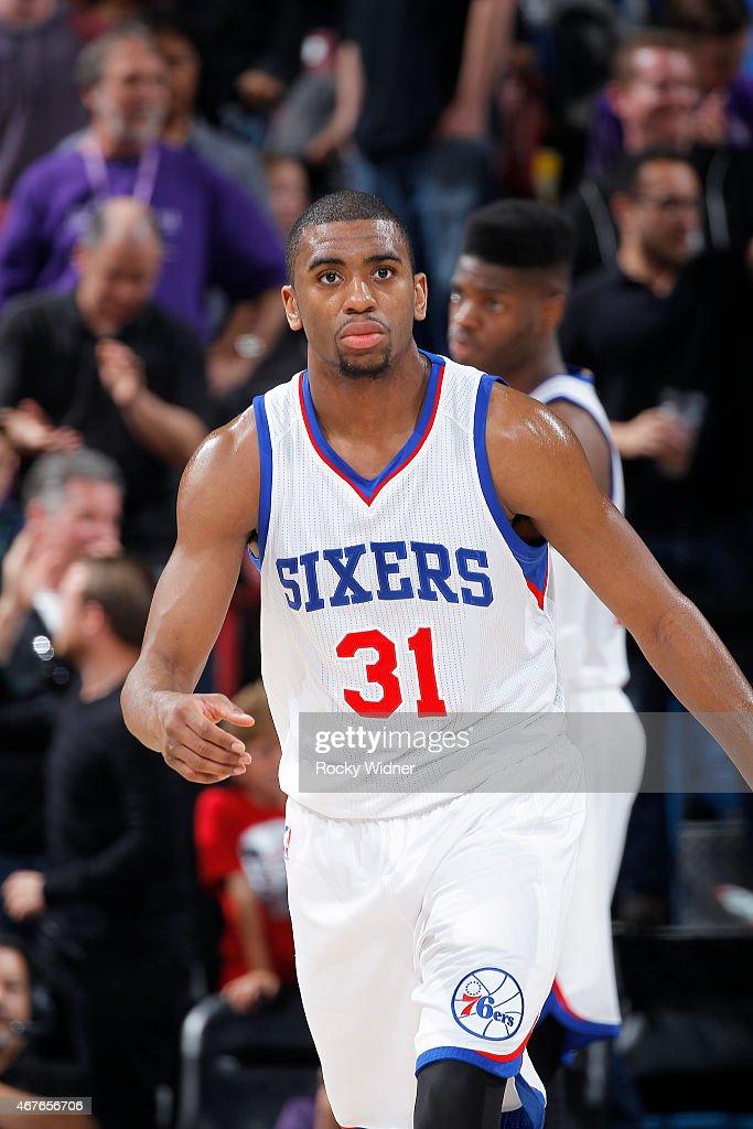 Hollis Thompson of the Philadelphia 76ers looks on during