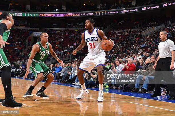 Hollis Thompson of the Philadelphia 76ers looks to move the ball against the Boston Celtics during the game on November 19 2014 at Wells Fargo...