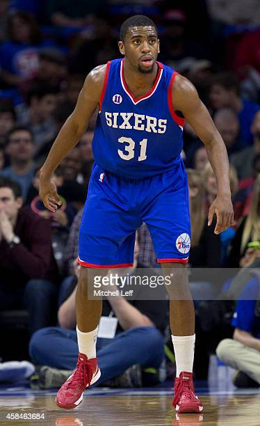 Hollis Thompson of the Philadelphia 76ers plays in the game against the Miami Heat on November 1 2014 at the Wells Fargo Center in Philadelphia...
