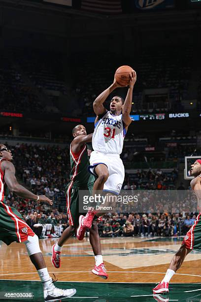 Hollis Thompson of the Philadelphia 76ers shoots against Milwaukee Bucks during the game on October 31 2014 at the BMO Harris Bradley Center in...