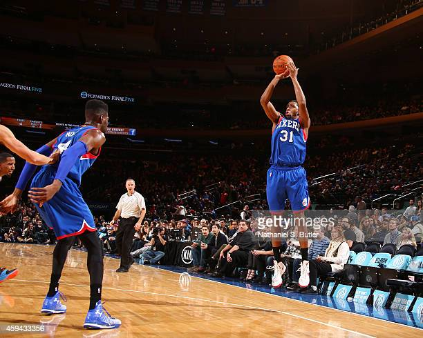 Hollis Thompson of the Philadelphia 76ers shoots against the New York Knicks during the game on November 22 2014 at Madison Square Garden in New York...