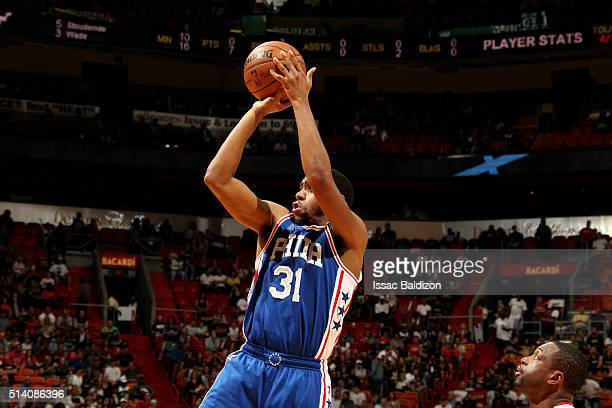 Hollis Thompson of the Philadelphia 76ers shoots the ball during the game against the Miami Heat on March 6 2016 at AmericanAirlines Arena in Miami...