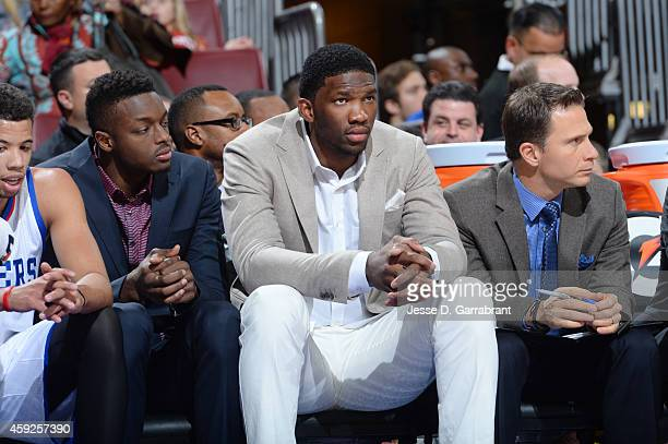 Hollis Thompson of the Philadelphia 76ers sitting on the bench with his teamduring the game against the Boston Celtics on November 19 2014 at Wells...
