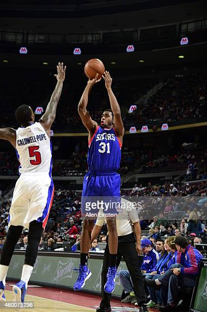 Hollis Thompson of the Philadelphia 76ers takes a shot against the Detroit Pistons on December 2014 at The Palace of Auburn Hills in Auburn Hills...