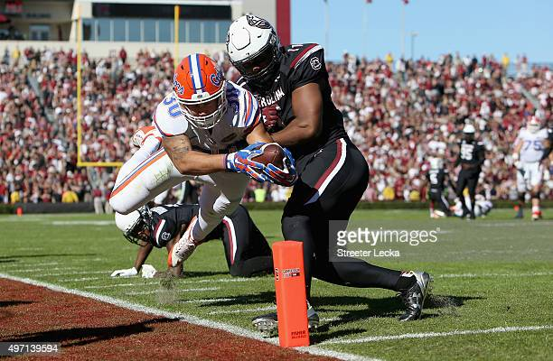J Holloman of the South Carolina Gamecocks knocks DeAndre Goolsby of the Florida Gators out of bounds during their game at WilliamsBrice Stadium on...