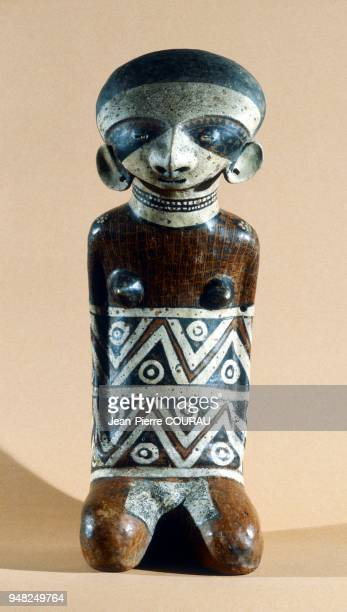 Hollow ceramic of a female figure of the Western NAYARIT culture belonging to the SAENZ collection and pictured at the Amparo Museum in Puebla Mexico...