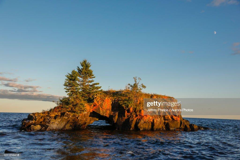 Hollow Rock, Lake Superior, Grand Portage, Minnesota, USA : Stock Photo