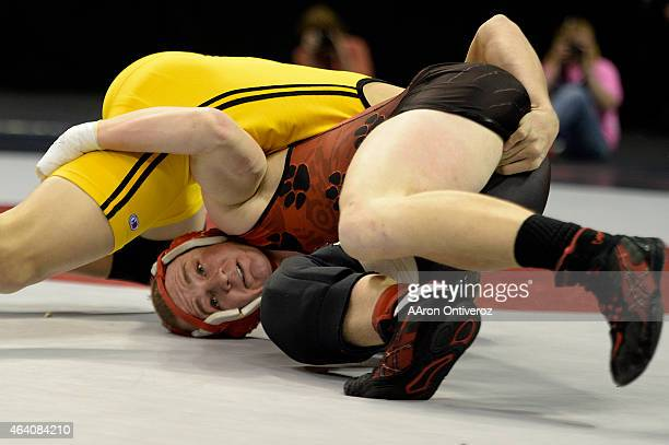 Holly 145-pounder Ryan Nordyke works for a takedown against Meeker's Anthony Watt en route to capturing the class 2A state title. The Colorado State...