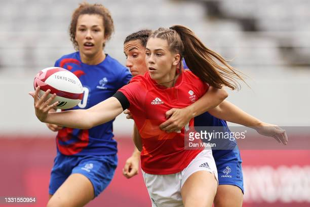 Holly Aitchison of Team Great Britain takes on the defence in the Women's Semi Final match between Team Great Britain and Team France during the...