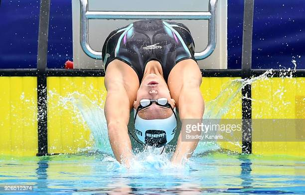 Holly Barratt takes off in the heats of the Women's 50m Backstroke event during the 2018 Australia Swimming National Trials at the Optus Aquatic...