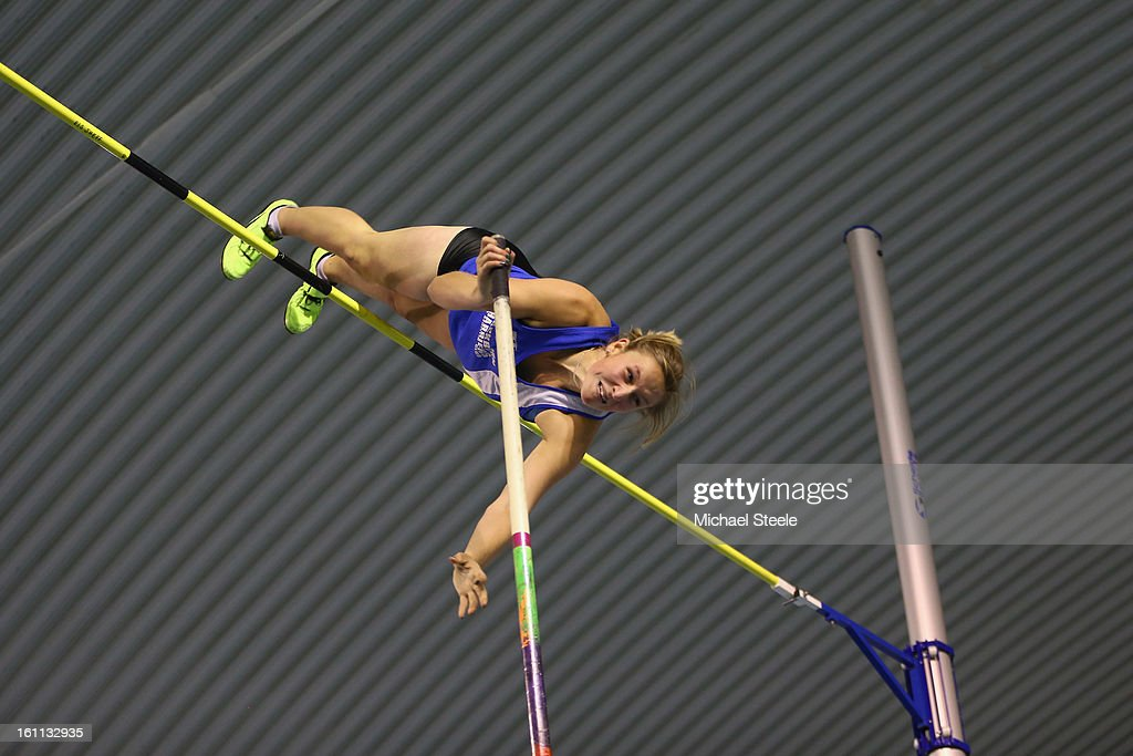 Holly Bleasdale in action during her victory in the women's pole vault during day one of the British Athletics European Trials & UK Championship at the English Institute of Sport on February 9, 2013 in Sheffield, England.