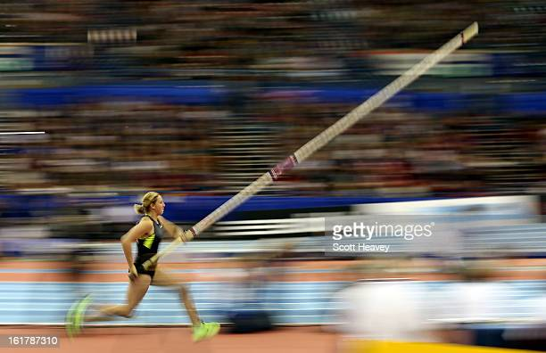 Holly Bleasdale of Great Britain and Northern Ireland during the Women's Pole Vault at the British Athletics Grand Prix at NIA Arena on February 16...