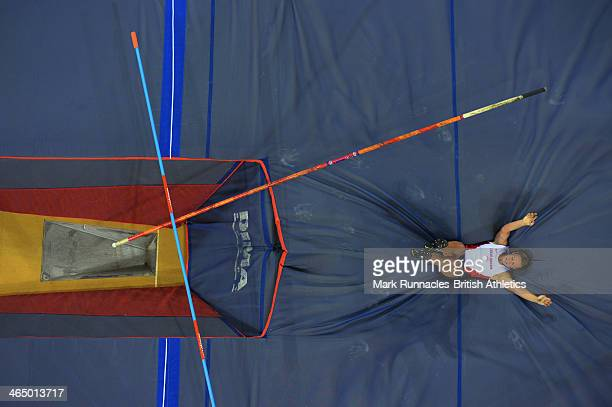 Holly Bleasdale of Great Britain competes in the Women's Pole Vault during the British Athletics Sainsbury's Glasgow International Match at the...