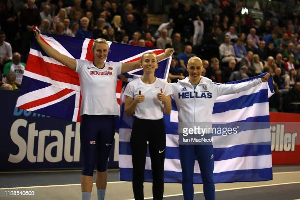 Holly Bradshaw of Great Britain Anzhelika Sidorova of Russia and Nikoleta Kiriakopoulou of Greece celebrate winning medals in the final of the...