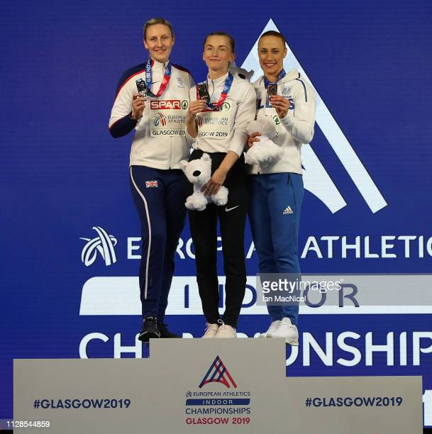 Holly Bradshaw of Great Britain Anzhelika Sidorova of Russia and Nikoleta Niriakopoulou of Greece with their medals during the medal ceremony for the...