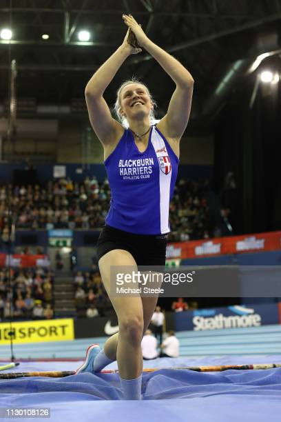Holly Bradshaw of Great Britain celebrates victory in the women's pole vault during the Muller Indoor Grand Prix IAAF World Indoor Tour event at...