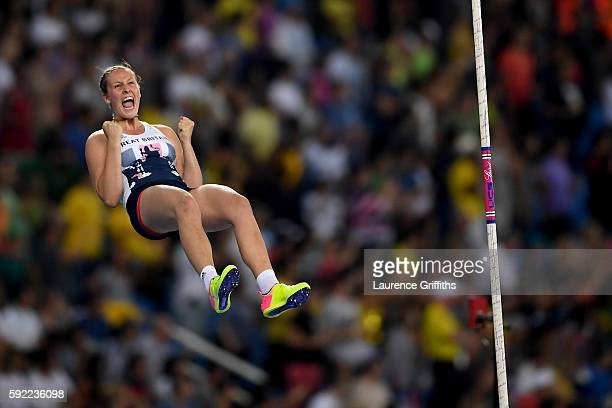 Holly Bradshaw of Great Britain competes in the Women's Pole Vault Final on Day 14 of the Rio 2016 Olympic Games at the Olympic Stadium on August 19,...