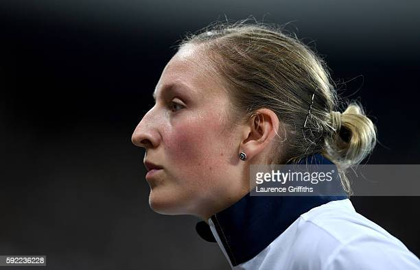 Holly Bradshaw of Great Britain competes in the Women's Pole Vault Final on Day 14 of the Rio 2016 Olympic Games at the Olympic Stadium on August 19...