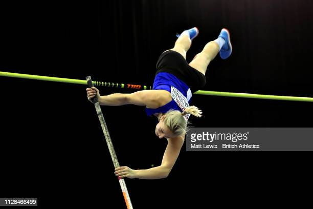 Holly Bradshaw of Great Britain competes in the Womens Pole Vault during Day One of the SPAR British Athletics Indoor Championships at Arena...