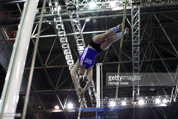 Holly Bradshaw of Great Britain competes in the women's pole vault during the Muller Indoor Grand Prix IAAF World Indoor Tour event at Arena...
