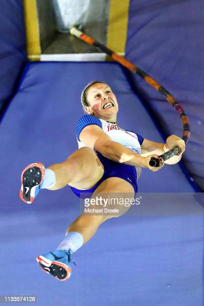 Holly Bradshaw of Great Britain in action during the women's pole vault final during day three of the 2019 European Athletics Indoor Championships at...