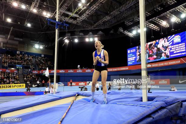 Holly Bradshaw of Great Britain reacts in the Women's pole vault during the Muller Indoor Grand Prix IAAF World Indoor Tour event at Arena Birmingham...