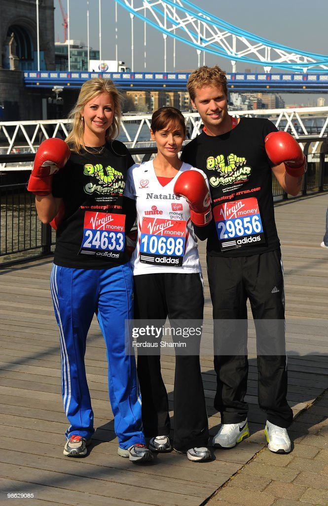 Holly Branson, Natalie Imbruglia and Sam Branson attend a photocall for the 2010 Virgin London Marathon on April 23, 2010 in London, England.