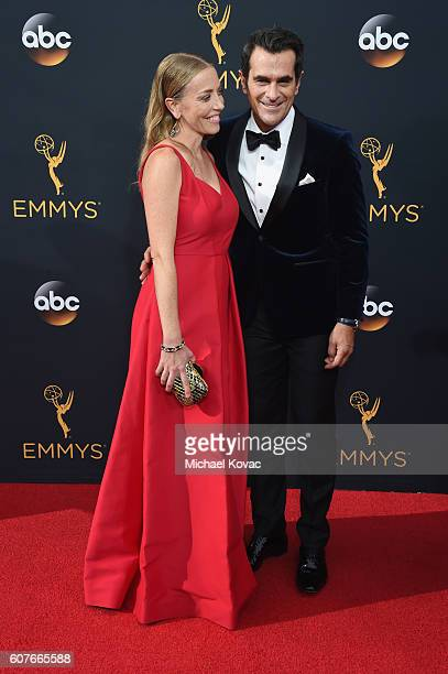 Holly Burrell and actor Ty Burrell attend 68th Annual Primetime Emmy Awards at Microsoft Theater on September 18 2016 in Los Angeles California