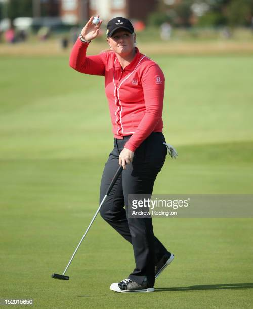 Holly Clyburn of England celebrates her eagle on the 18th hole during the second round of the Ricoh Women's British Open at Royal Liverpool Golf Club...
