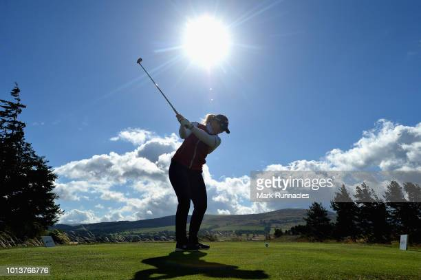 Holly Clyburn of Great Britain takes her tee shot on hole eight during day two of the European Golf Team Championships at Gleneagles on August 9,...