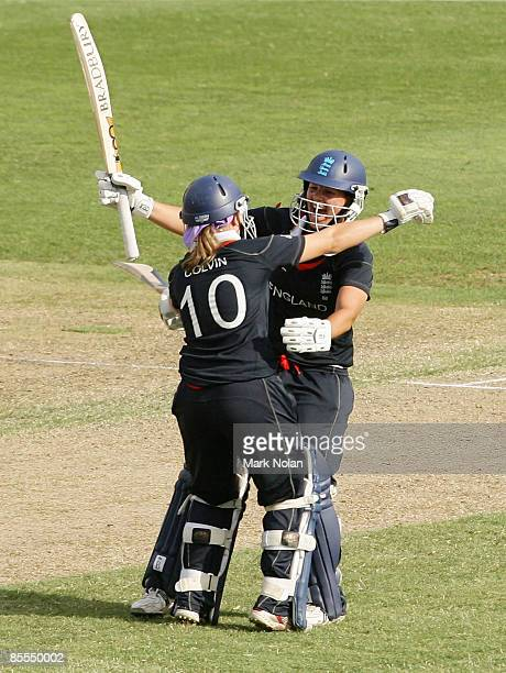 Holly Colvin and Nicky Shaw of England celebrate after winning the ICC Women's World Cup 2009 final match between England and New Zealand at North...