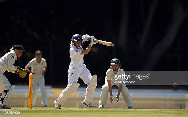 Holly Colvin of England bats during day two of the Test match between Australia and England at Bankstown Oval on January 23 2011 in Sydney Australia
