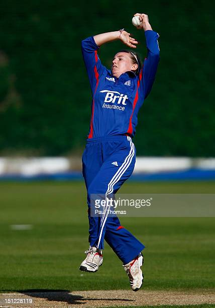 Holly Colvin of England bowls during the first NatWest Women's International T20 cricket match between England and Pakistan at Loughborough...