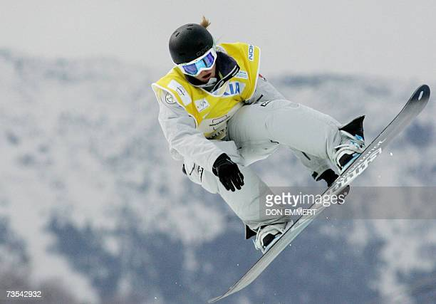Holly Crawford of Australia catches some air during the men's FIS World Cup Snowboard Halfpipe 10 March 2007 in Wilmington, NY. Crawford finished in...