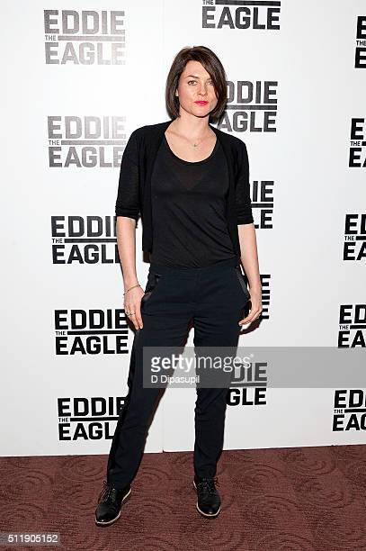 Holly Davidson attends the 'Eddie The Eagle' New York screening at Chelsea Bow Tie Cinemas on February 23 2016 in New York City