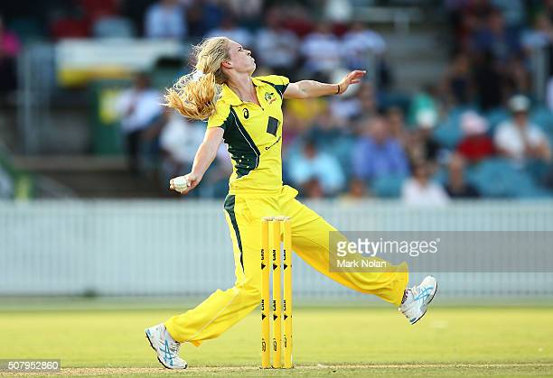 Holly Ferling of Australia bowls during game one of the Women's ODI series between Australia and India at Manuka Oval on February 2 2016 in Canberra...
