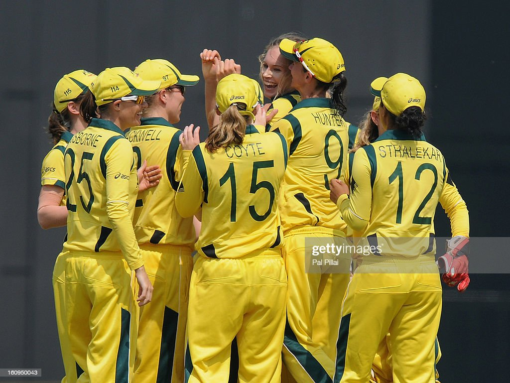 Holly Ferling of Australia celebrates a wicket during the super six match between England and Australia held at the CCI (Cricket Club of India) on February 8, 2013 in Mumbai, India.