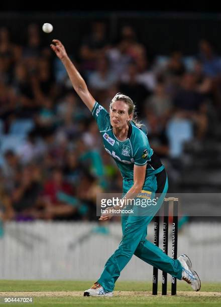 Holly Ferling of the Heat bowls during the Women's Big Bash League match between the Brisbane Heat and the Melbourne Stars on January 13 2018 in...